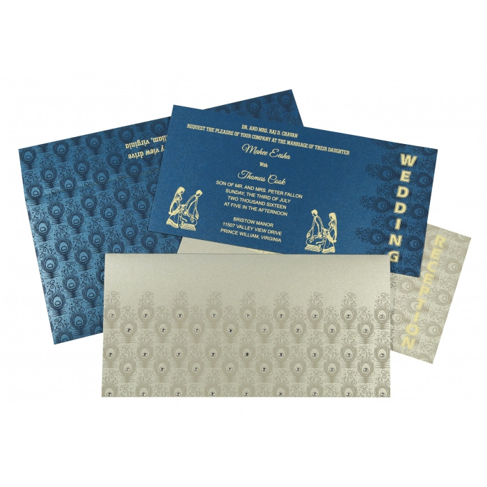 Shimmery Peacock Themed - Screen Printed Wedding Invitation : CI-8256H - IndianWeddingCards