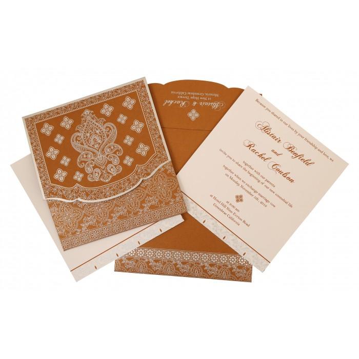 Shimmery Screen Printed Wedding Invitation : CD-800B - IndianWeddingCards