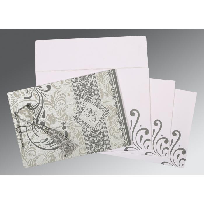Shimmery Screen Printed Wedding Card : CD-8223A - IndianWeddingCards