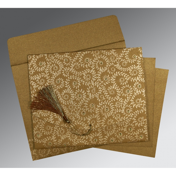 Shimmery Screen Printed Wedding Invitation : CI-8217C - IndianWeddingCards