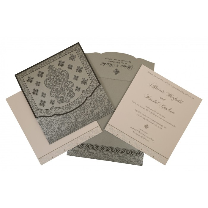 Shimmery Screen Printed Wedding Invitation : CIN-800E - IndianWeddingCards