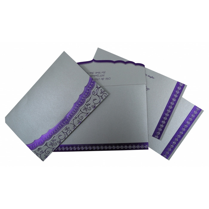 Silver Shimmery Foil Stamped Wedding Invitation : CD-806A - IndianWeddingCards