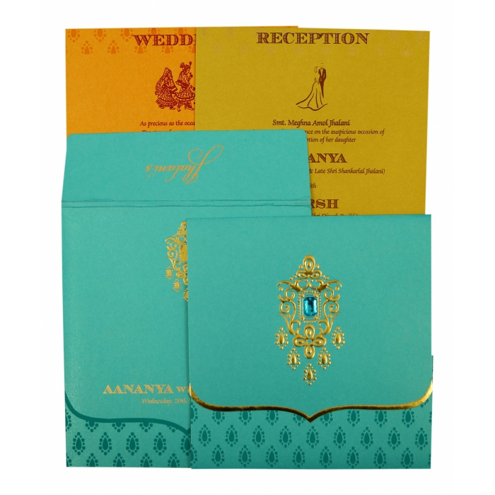Turquoise Shimmery Paisley Themed - Foil Stamped Wedding Invitation : CIN-1872 - IndianWeddingCards
