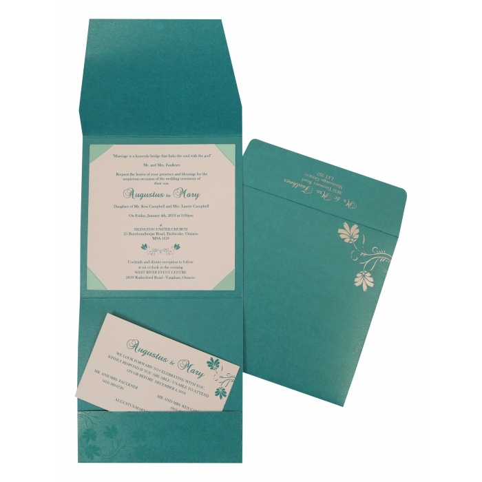 Turquoise Shimmery Screen Printed Wedding Invitation : CIN-803A - IndianWeddingCards