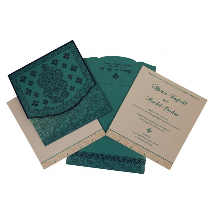 Turquoise Shimmery Screen Printed Wedding Invitation : CW-800D - IndianWeddingCards
