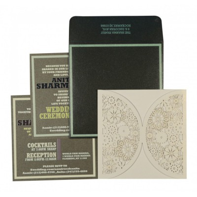 White Shimmery Laser Cut Wedding Card : CD-1594 - IndianWeddingCards