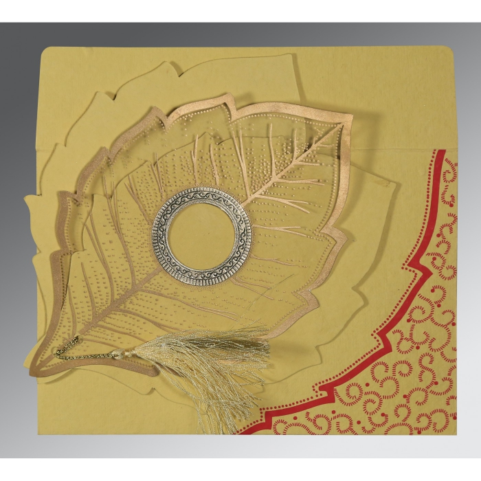 Yellow Handmade Cotton Floral Themed - Foil Stamped Wedding Card : CW-8219G - IndianWeddingCards