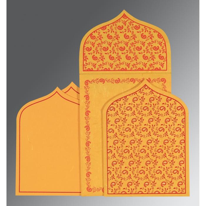 Yellow Handmade Silk Paisley Themed - Glitter Wedding Invitation : CD-8208C - IndianWeddingCards