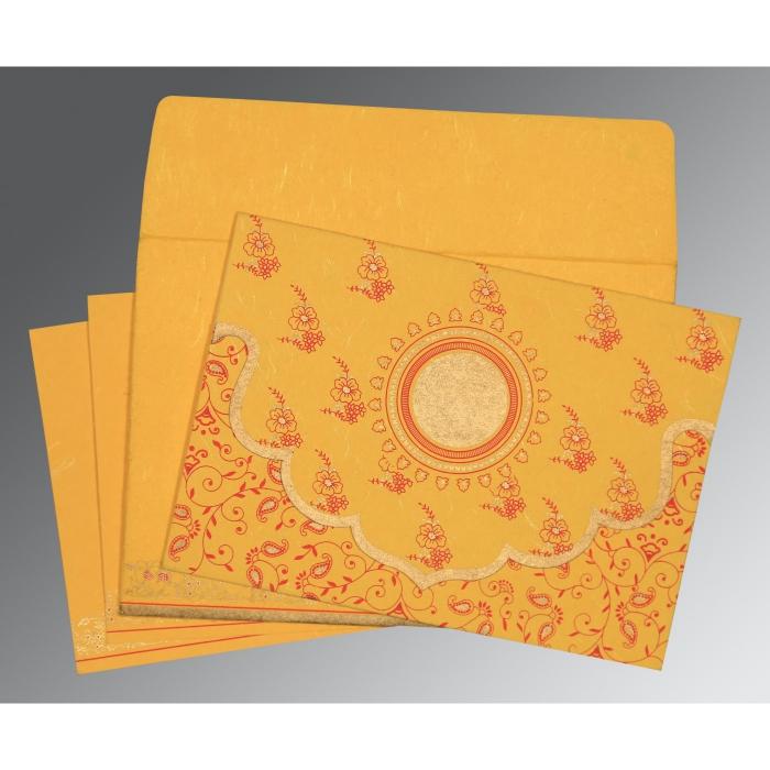 Yellow Handmade Silk Screen Printed Wedding Invitation : CD-8207O - IndianWeddingCards