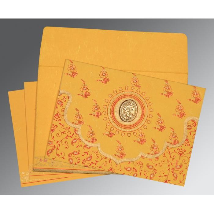Yellow Handmade Silk Screen Printed Wedding Invitation : CI-8207O - IndianWeddingCards