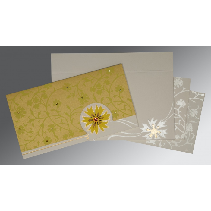 Yellow Matte Floral Themed - Embossed Wedding Card : CW-1380 - IndianWeddingCards