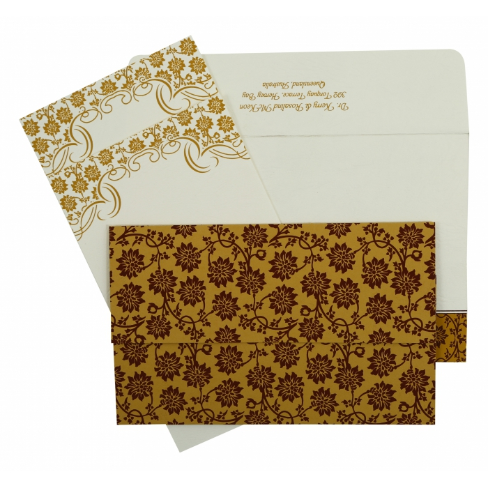 Yellow Matte Floral Themed - Screen Printed Wedding Invitation : CD-810C - IndianWeddingCards