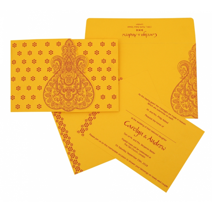 Yellow Paisley Themed - Screen Printed Wedding Invitation : CS-801A - IndianWeddingCards