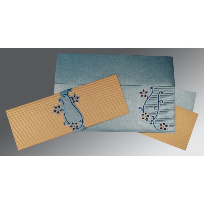 Yellow Shimmery Embossed Wedding Invitation : CD-1400 - IndianWeddingCards