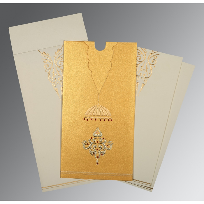 Yellow Shimmery Foil Stamped Wedding Card : CC-1350 - IndianWeddingCards