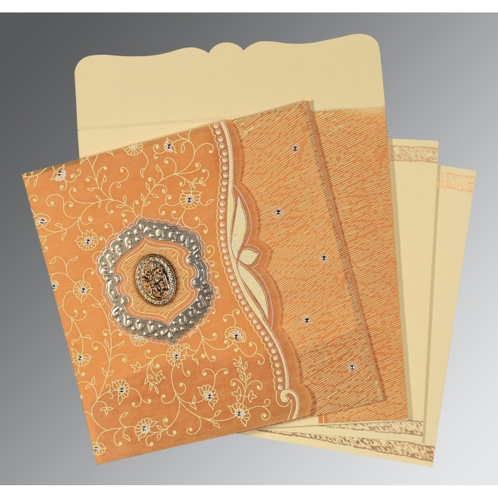 Yellow Wooly Floral Themed - Embossed Wedding Card : CI-8209B - IndianWeddingCards