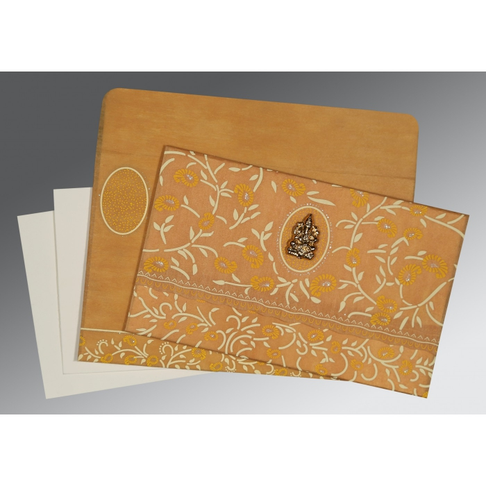 Yellow Wooly Floral Themed - Glitter Wedding Card : CW-8206H - IndianWeddingCards