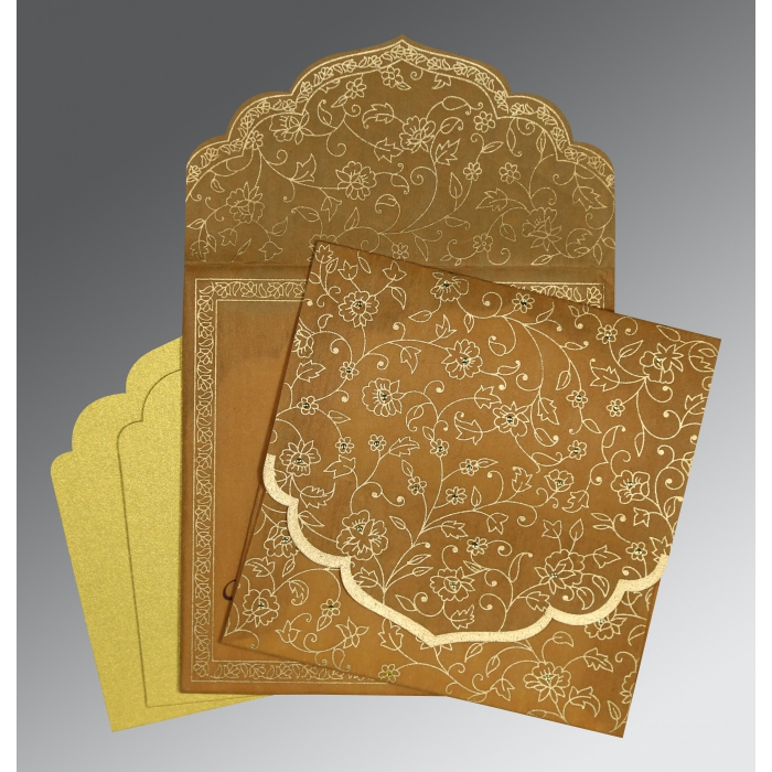 Yellow Wooly Floral Themed - Screen Printed Wedding Invitation : CI-8211E - IndianWeddingCards