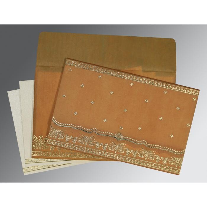Yellow Wooly Foil Stamped Wedding Invitation : CI-8241J - IndianWeddingCards