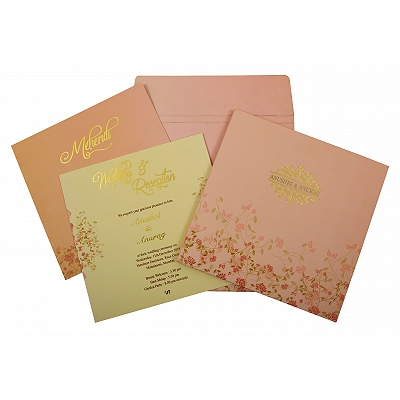 Baby Pink Matte Box Themed - Foil Stamped Wedding Invitation : CD-1847 - IndianWeddingCards