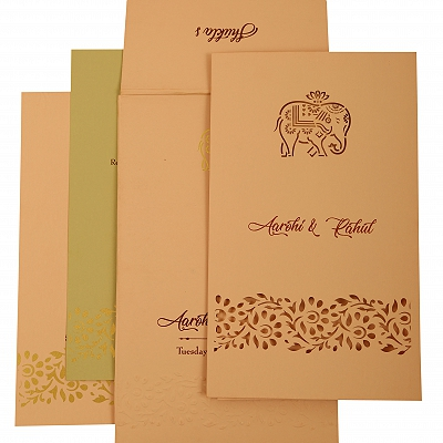 Baby Pink Matte Laser Cut Wedding Invitation : CC-1924 - IndianWeddingCards