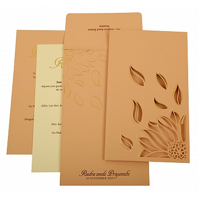 Baby Pink Matte Laser Cut Wedding Invitation : CD-1926 - IndianWeddingCards