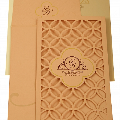 Baby Pink Matte Laser Cut Wedding Invitation : CW-1906 - IndianWeddingCards
