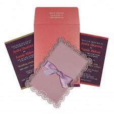 Baby Pink Shimmery Laser Cut Wedding Invitation : CRU-1589