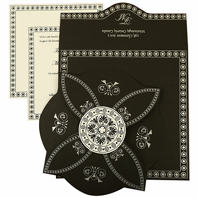 Black Butterfly Themed - Screen Printed Wedding Invitation : CIN-820E