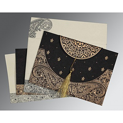 Black Handmade Cotton Embossed Wedding Card : CIN-8234A - IndianWeddingCards