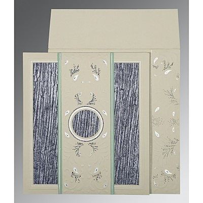 Black Matte Embossed Wedding Card : CD-1261 - IndianWeddingCards