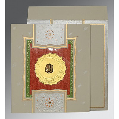 Black Matte Embossed Wedding Card : CIN-1144 - IndianWeddingCards