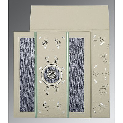 Black Matte Embossed Wedding Card : CIN-1261
