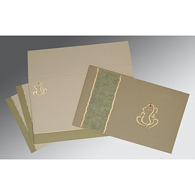 Black Matte Embossed Wedding Card : CW-2117 - IndianWeddingCards