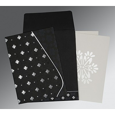 Black Matte Floral Themed - Foil Stamped Wedding Invitation : CC-8237H - IndianWeddingCards