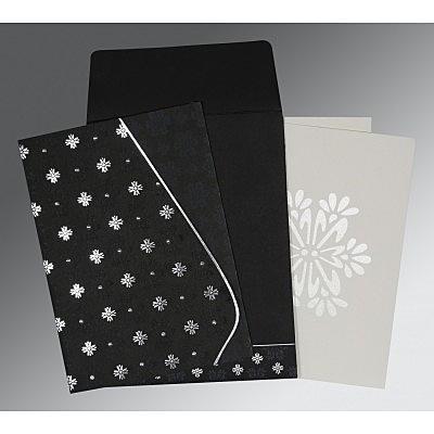 Black Matte Floral Themed - Foil Stamped Wedding Invitation : CI-8237H - IndianWeddingCards