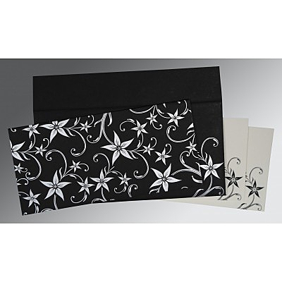 Black Matte Floral Themed - Screen Printed Wedding Invitation : CI-8225A - IndianWeddingCards