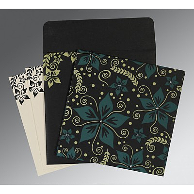 Black Matte Floral Themed - Screen Printed Wedding Invitation : CS-8240A - IndianWeddingCards