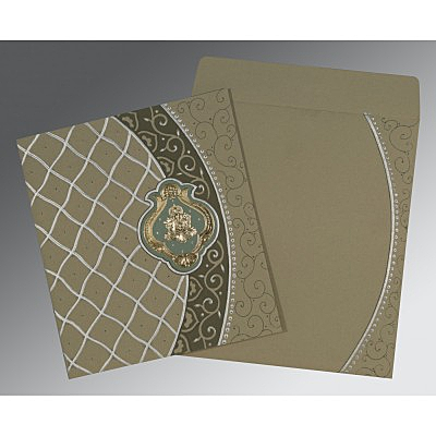 Black Matte Foil Stamped Wedding Card : CW-2114 - IndianWeddingCards