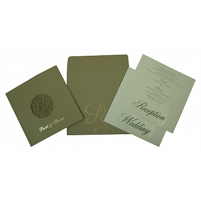 Black Matte Laser Cut Wedding Invitation : CI-1815