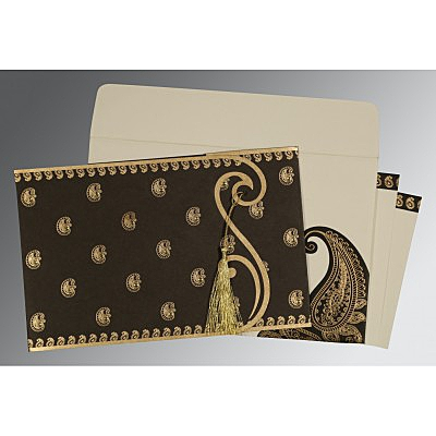 Black Matte Paisley Themed - Screen Printed Wedding Invitation : CW-8252C - IndianWeddingCards