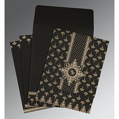 Black Matte Screen Printed Wedding Invitation : CS-8247B - IndianWeddingCards