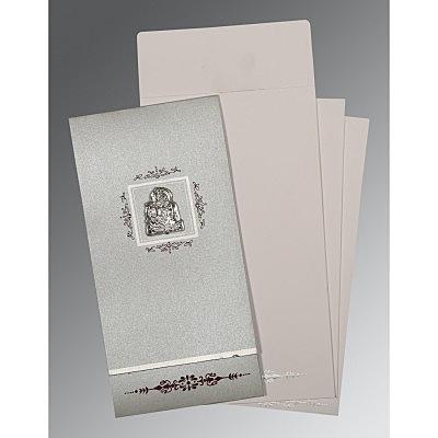 Black Shimmery Embossed Wedding Card : CG-1427