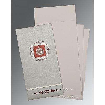 Black Shimmery Embossed Wedding Card : CIN-1427 - IndianWeddingCards