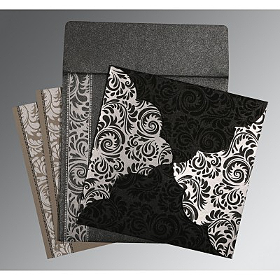 Black Shimmery Floral Themed - Screen Printed Wedding Card : CIN-8235I