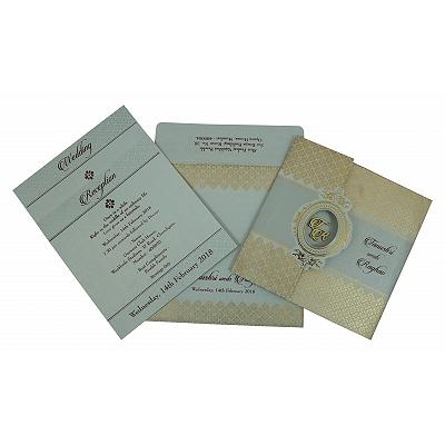Black Shimmery Foil Stamped Wedding Invitation : CW-1801 - IndianWeddingCards