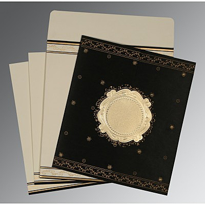 Black Wooly Embossed Wedding Invitation : CD-8202K - IndianWeddingCards