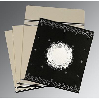 Black Wooly Embossed Wedding Invitation : CD-8202L - IndianWeddingCards