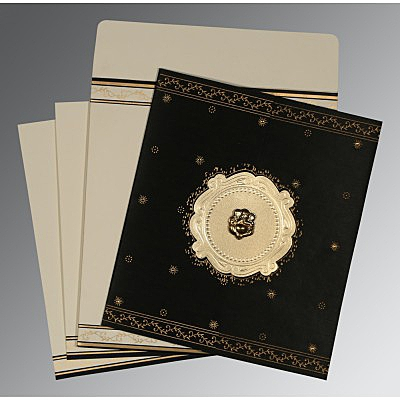 Black Wooly Embossed Wedding Invitation : CW-8202K - IndianWeddingCards