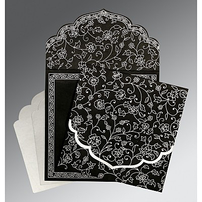Black Wooly Floral Themed - Screen Printed Wedding Invitation : CI-8211B - IndianWeddingCards